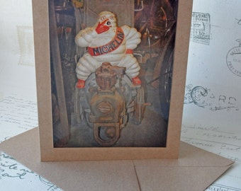 Vintage Car Memorabilia Michelin Man Photo Art Recycled Blank Card for Dad's Birthday, Thank you etc. - Handmade in the UK