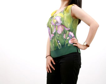 Summer silk blouse . Hand painted silk blouse.  Ready to ship.