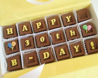 Happy Birthday Chocolate Message - B-Day Chocolate Squares - Unique Gift, Birthday Present
