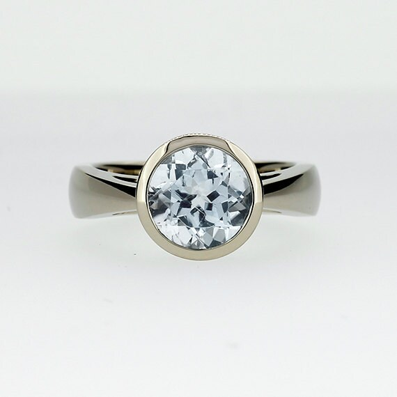 white topaz ring white gold engagement ring bezel