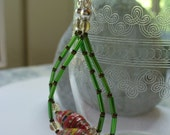 Red Paper Bead Dangle Earrings, Green, Brown, Beaded Dangle Earring, Silver, Long Dangle Earring, Paper Jewelry, Green  and Red Earrings