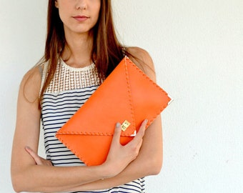 Orange leather clutch / Handmade leather bag / Orange Italian leather