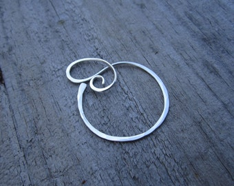 XLG Periwinkle Charm Holder - Heavy Gauge Charm Holder - Ring Holder Pendant - Free Form Sterling Wire Work