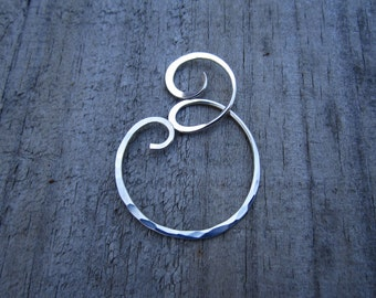 XLG Wind Ripple Charm Holder - Heavy Gauge Charm Holder - Ring Holder Pendant - Free Form Sterling Wire Work