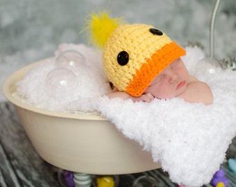 Rubber Ducky Baby Hat Yellow Rubber Ducky Hat Orange Newborn Baby Girl Hat Newborn Baby Boy Hat Bathtub Photo Prop Newborn Photography Prop