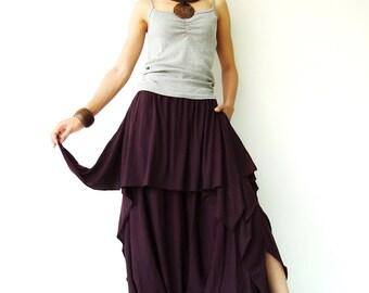 NO.86 Plum Cotton-Blend Jersey Cool Unique Asymmetric Casual Loose Novelty Harem Pants, Trendy Unusual Trousers