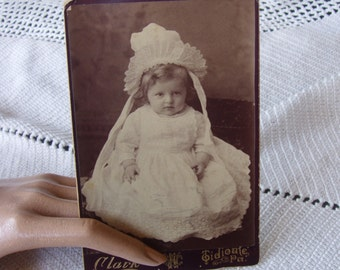 1800s Antique Cabinet Card . Big Ruffled Bonnet . Baby Boy . Portrait . Clark . Tidioule Pennsylvania . Antique Photo . identified