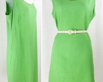 Vtg 60's – 70's Green tiny grid check Sleeveless Shift Dress Bib Front Crocheted Lace ~hand made~