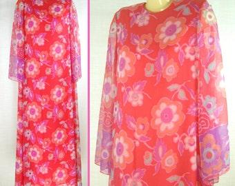 Vtg 70s – 80s MAXI Floral Sheer Sleeves ~NAT KAPLAN~ b40