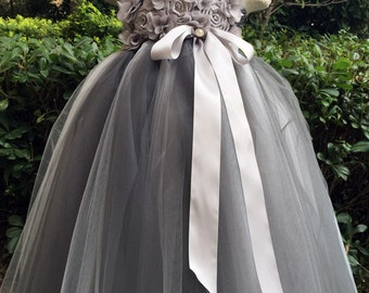 TUTU Flower girl dress Grey Silve chiffton flowers tutu dress baby dress toddler birthday dress wedding dress 1-8T
