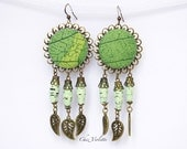 Green Leaf earring / Nature Botanical Jewelry / Paper bead fabric earrings