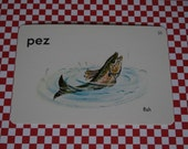 "Vintage 1962 ""Fish"" Picture & Word Flash Card, Choice of English (fish), French (le poisson), Spanish (pez), Whitman Publishing, Racine, WI"