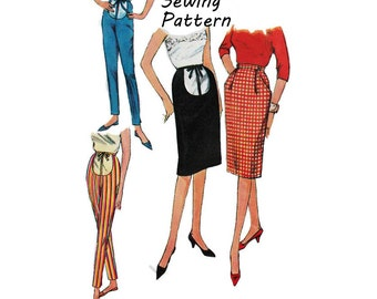 Simplicity 4005 Woman's Maternity Pencil Skirts and Cigarette Pants Sewing Pattern Sz Waist 24in /61cm Vintage 1960's