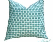 Schumacher - Betwixt in Pool - Turquoise  Aqua Pillow Cover - Designer Pillow - Aqua and Off White - Throw Pillow - Toss Pillow Cover