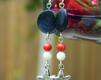 Patriotic Beach Earrings ~ Red, White, and Blue ~ Coral, Seashell, Silver Star, Starfish, Mother of Pearl