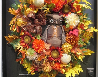 Fall Wreaths for Front Door , Fall Door Wreath with Owl, Thanksgiving Wreaths, Autumn Door Wreaths, Fall Wreaths Door, Fall Front Door