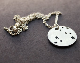 Leo Necklace, Leo the Lion Zodiac Necklace, Constellation Jewelry, Personalized Star Necklace, Astrology and Planets
