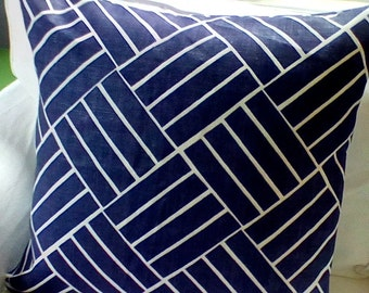 "Lulu DK ""Plantation"" Euro Sham in Royal Indigo and White Geometric Pattern. Linen Hand Screen fabric front and back."