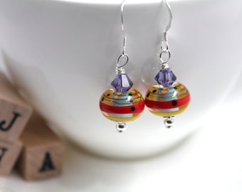 Lampwork glass bead/Swarovski/Sterling silver - Art and About earrings