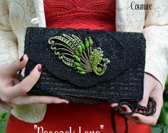 Beaded Handbag, Peacock, Emerald Rhinestones, Bugle Beaded, By Alchemy Divine Couture