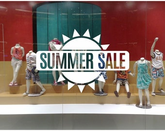 Summer Sale Sun Shop Window decal easy to paste or remove - shop window display - ask us for custom decals (ID: 131051)