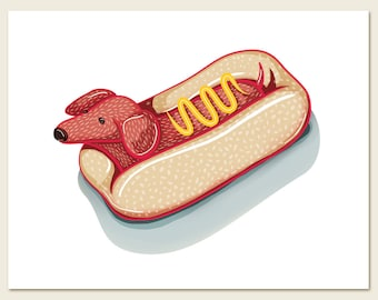 Dachshund Hot Dog / Wall art print / funny / kitchen / red / dog / mustard / whimsical / wiener dog / home decor / doxie / bun