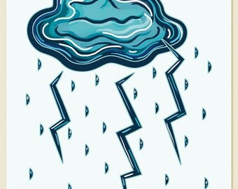 Thunder and Lightning / Wall art print / Whimsical / Weather / Blue / Modern / Nursery / Geometric / Illustration / Cloud / Rain / Bold