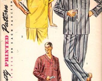"Vintage 1952 Simplicity 4108 Men's Two Piece Pajamas & Nightshirt Sewing Pattern Size Medium Chest 38"" - 40"""