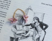 Antique Ribbonwork Violet's Authentic Silk Flowers from the Flapper Era Perhaps Older w Yellow Stamens  Handmade Ribbon Work Embellishment