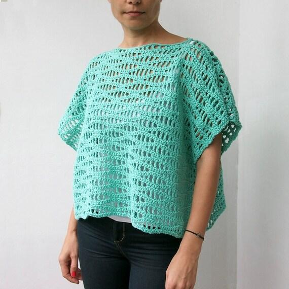 Crochet Pattern Waves Women Tee Top Woman Shrug By