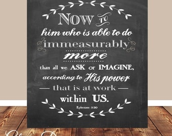 Bible verse, Scripture Art, scripture printable, Ephesians 3:20, Chalkboard printable, Bible Verse printable, Printable, DIY, Home decor