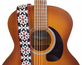 Hemp Guitar Strap - Vintage Bold Flowers Woven Ribbon on Organic Hemp Webbing - Vintage Style Strap - Acoustic, Electric and Bass Guitars
