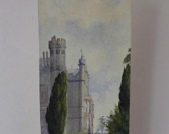 Beautiful Little Original Watercolour of Conishead Priory, 1914