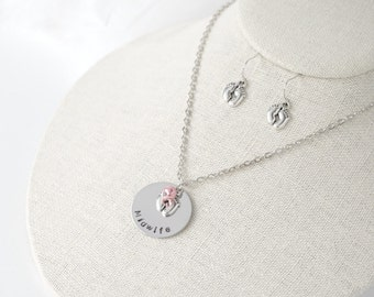 Midwife - Doula - Nurse - Necklace and Earrings -  Hand Stamped - Beautiful Stainless Steel - Choice of pearl