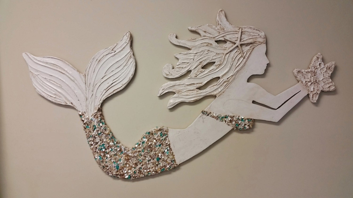 Mermaid wall art medium size handmade wood by lucydesignsonline