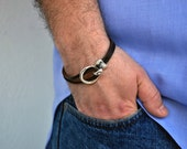 Men's nautical bracelet in brown leather, unisex