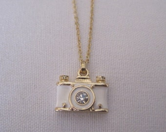 Gold and White Camera Necklace - Rhinestone Camera Necklace - Photographer Jewelry - Travel Jewelry