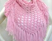 Pink Shawl with Fringe, Rose Quartz Hand Knit Shawl, Hippie Shawl, Pink Triangle Scarf, Women's Accessories, Festival Shawl, Ready to Ship