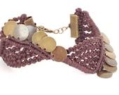Bracelet cuff, tribal jewelry, gypsy bracelet, ethnic, micro macrame,  made in Italy, bracelet for woman, brass beads