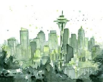 Seattle Watercolor Painting, Seattle Art Print, Green Space Needle, PNW Cityscape, 12th Man Art, Seattle Skyline Watercolor