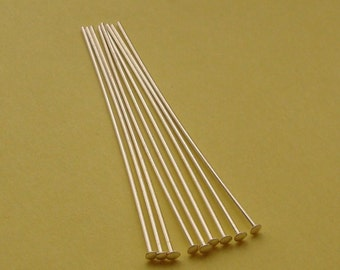10 Pieces, Flat Head Pins, Sterling Silver .925, 21 Gauge, 2 Inches, SHP117