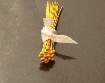 50 Pieces, Ball Head Pins, 24K Gold Vermeil, 26 Gauge, 1 Inch, VHP210