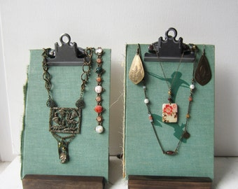 Jewelry Display Set - Necklace & Earring Display - Aqua Green Clipboard Book Jewelry Displays - Recycled Jewelry Display - Ready to Ship