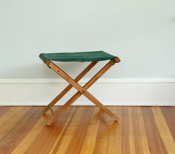 Vintage Folding Wooden Camp Stool