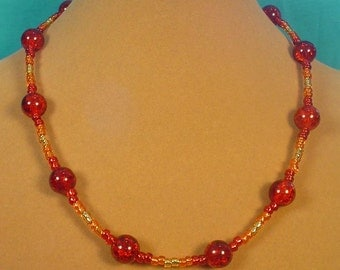"Burning HOT Sparkle necklace!  18"" glass - N326"