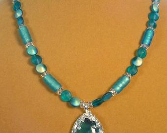 "Lovely 18"" Aqua Necklace - N428"