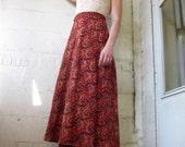 The Ingenue 1970s Indian Gauze Hand Blocked Print Midi Skirt OS