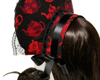 Beautiful Black and Red Blossom Teapots Gothic and Lolita Bonnet - Made to Order