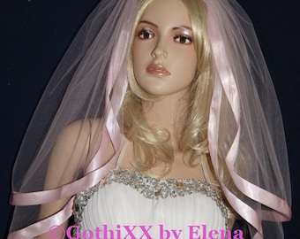 """Wedding Veil Elbow Black Red Purple White Pink Ivory Beige  Diamond White Glimmer Tulle 2 Tiers 54"""" Width 26"""" 28"""" Length Wide Satin Ribbon"""