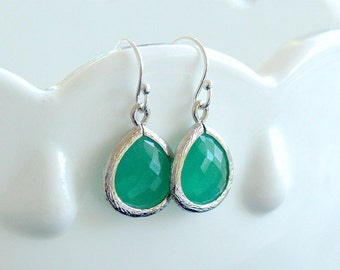 Kelly Green and Silver Drop Earrings - Opaque Green Drops on 925 Sterling Wire - Brides,Bridesmaid Earrings, Wedding